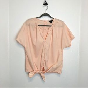 J.Crew Tie Front Button Back Top